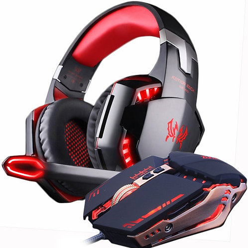 Gaming Headset Stereo Gamer Headphones With Microphone Earphone +Gaming Mouse