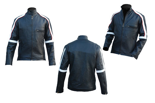 Men Back Stripped Genuine Leather Jacket