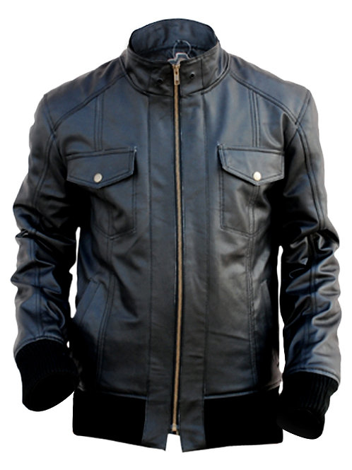 Black Unisex Men Women Leather Jacket