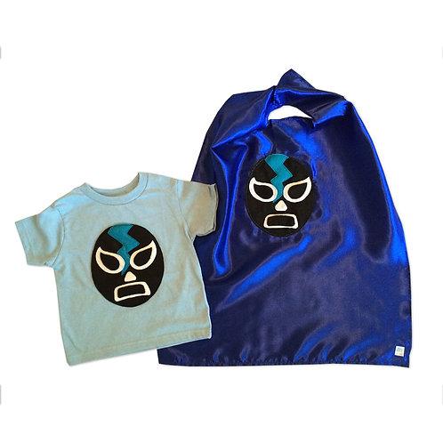 Kid's Cape and Shirt- Luchador Negro - Black Mexican Wrestler Toddler