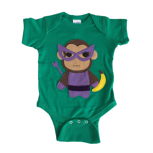 Super Hero Onesie - Monkey Banana Green Infant Bodysuit - Baby Clothes Gift