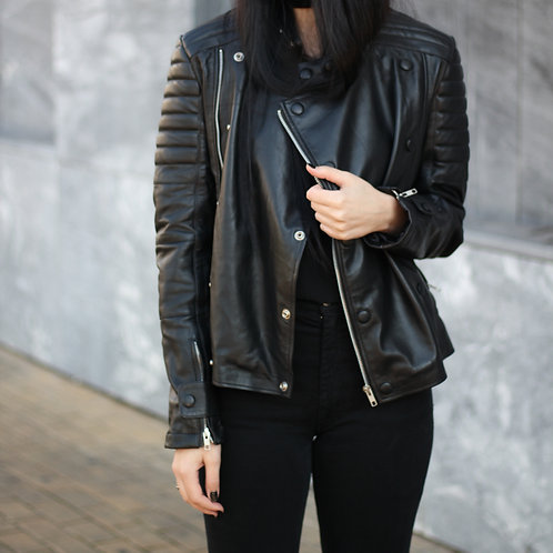Women Black Brando Leather Jacket