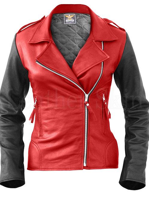 Women Red Brando Leather Jacket