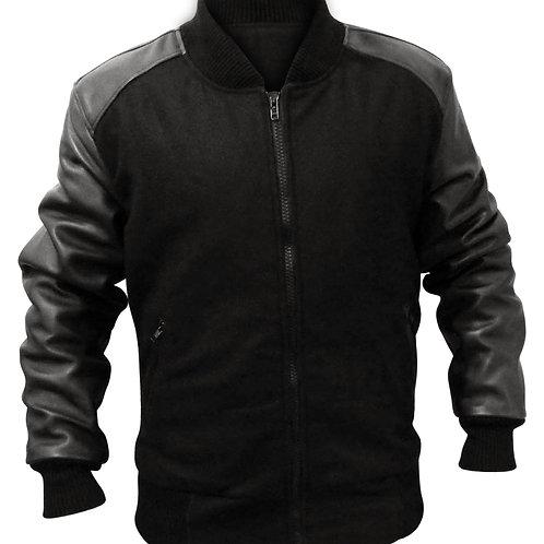 Fabric Black Leather Sleeves Jacket