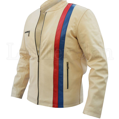 White Red Blue Biker Leather Jacket