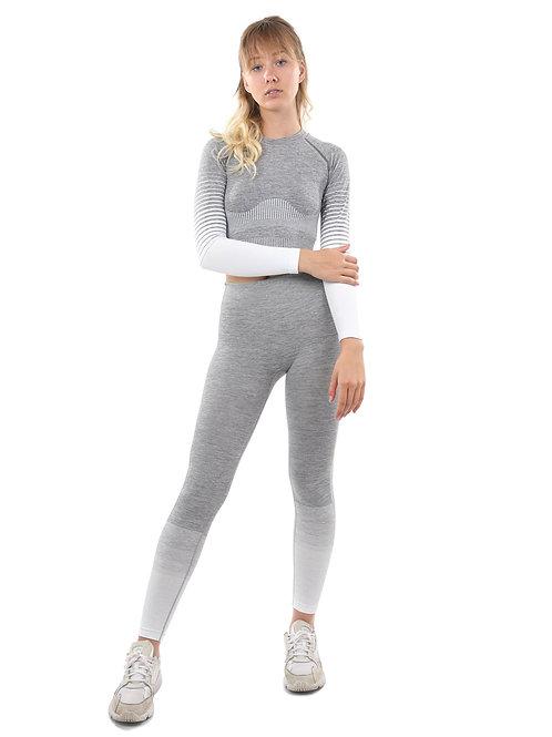 Bocana Seamless Leggings & Sports Top Set - Grey & White