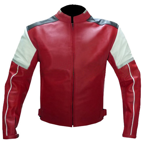 Red White Black Biker Leather Jacket