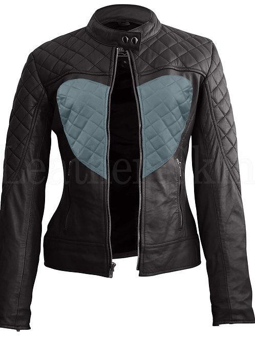 Women Black Gray Heart Leather Jacket