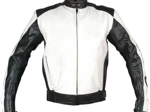 White Black Biker Racing Leather Jacket