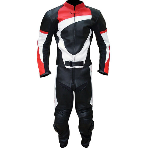 Men Black Red White Biker Leather Jacket