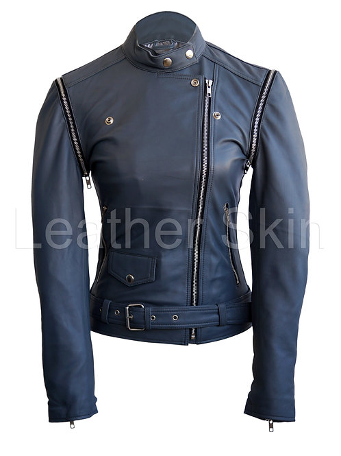 Women Gray Grey Leather Jacket