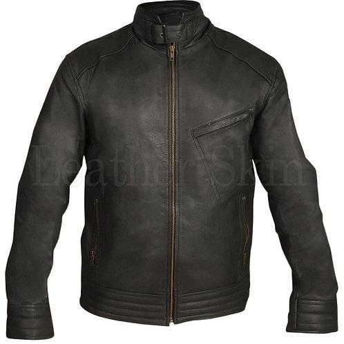 Black Biker Tilt Pocket Leather Jacket