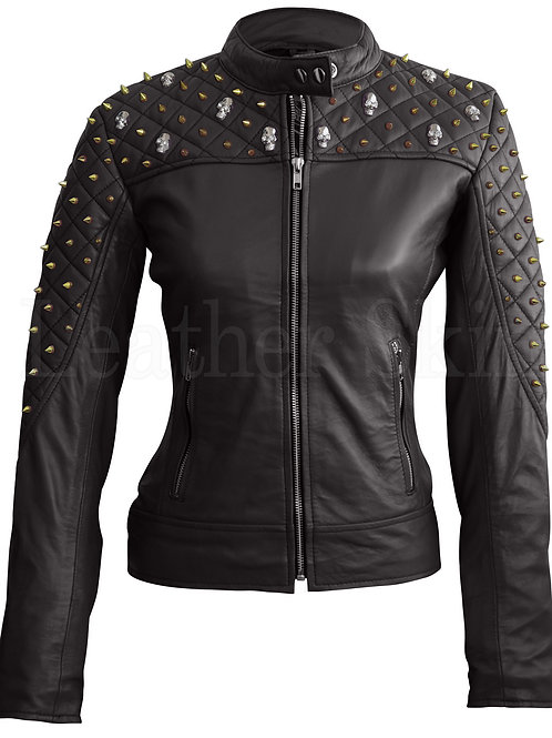 Women Black Quilted Leather Jacket