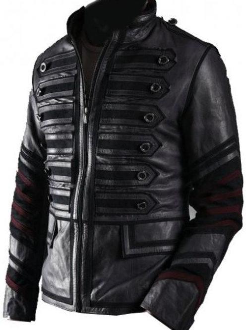 Black Military Men Leather Jacket