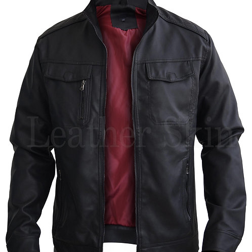 Black Crossed Shoulder Leather Jacket
