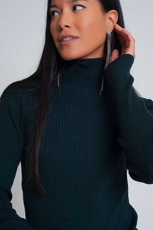 Soft Ribbed Sweater With Turtleneck in Green