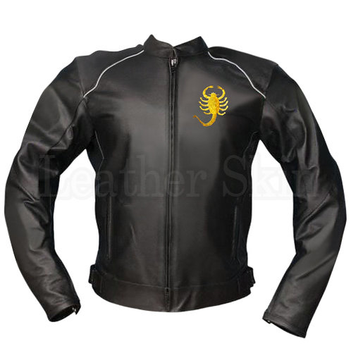 Men Scorpion Black Biker Leather Jacket