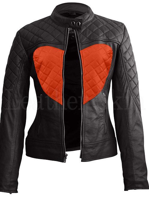 Women Black Orange Heart Leather Jacket
