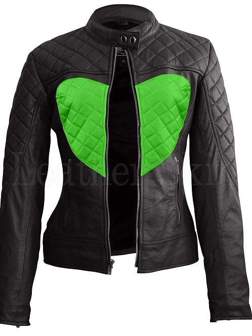 Women Black Green Heart Leather Jacket