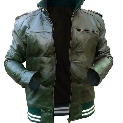 Black Men Stretchable Leather Jacket
