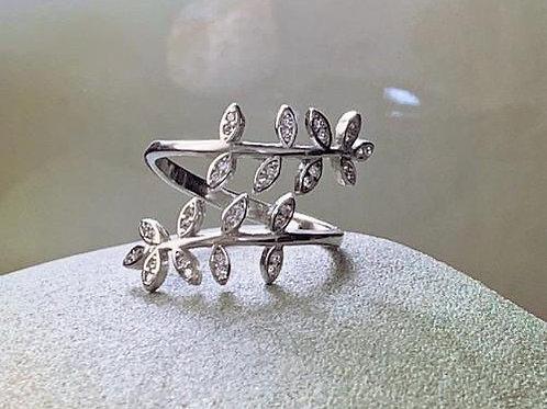 Designer Inspired Olivia Leaves Sterling Silver Ring