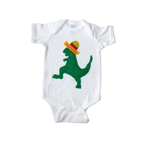 Baby Onesie - Mexican Dancing Dinosaur With Sombrero