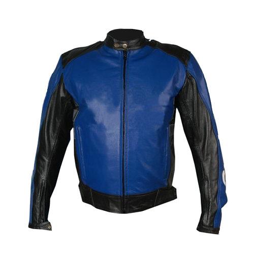 Blue Biker Racing Leather Jacket