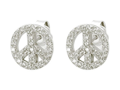 Sparkling Peace Sign Stud Earrings