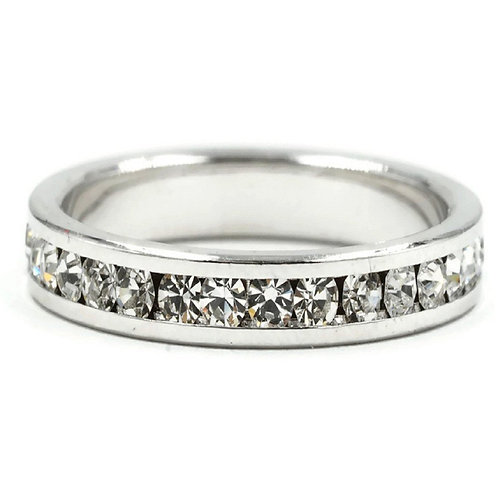 Clear Round Cut Crystal Stone Eternity Band Ring