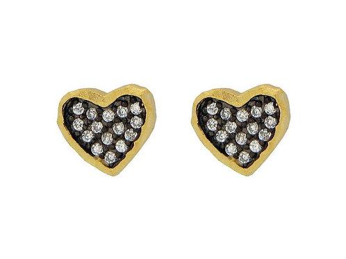 Sparkling Midnight Gold Hammered Hearts