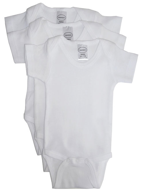 Bambini White Short Sleeve One Piece 3 Pack