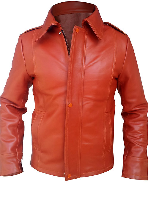 Red Men Collar Genuine Leather Jacket