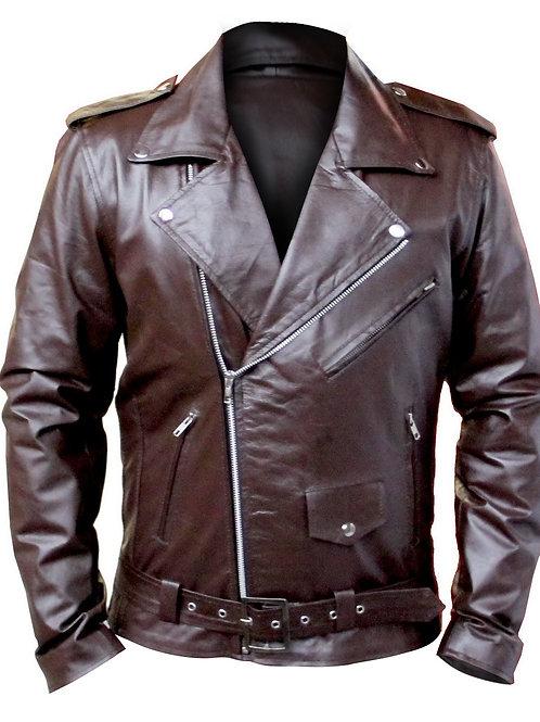 Brown Brando Men Genuine Leather Jacket