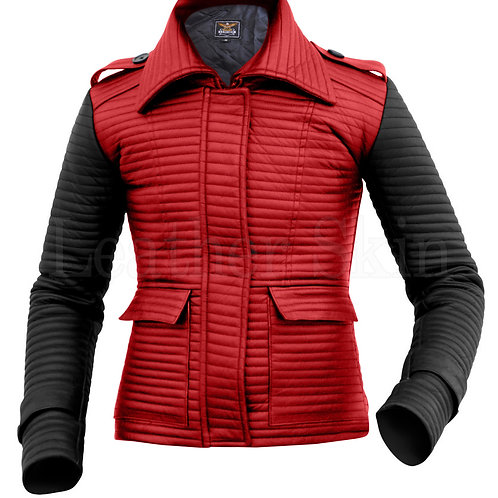 Women Red Rib Quilted Leather Jacket