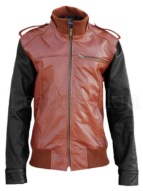 Mens Brown Black Sleeves Leather Jacket