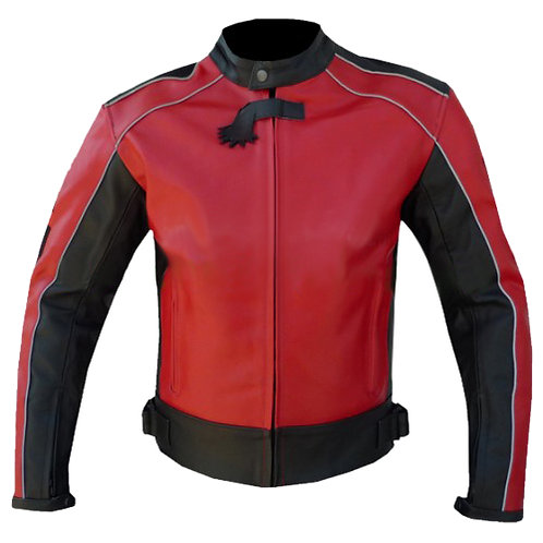 Red Black Panel Biker Leather Jacket
