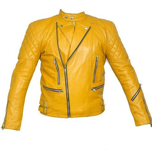 Quilted Yellow Biker Leather Jacket