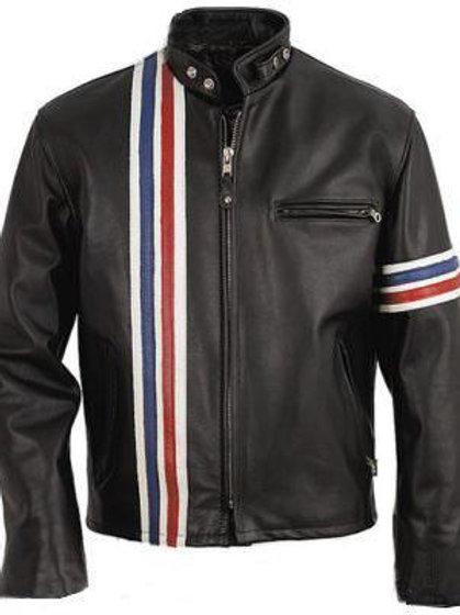 Men Black Stripes Biker Leather Jacket