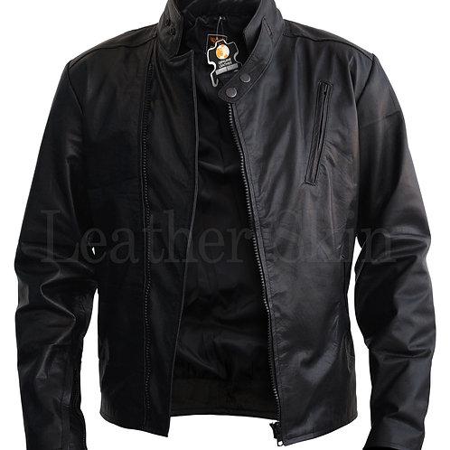 Men Iron Man Style Leather Jacket