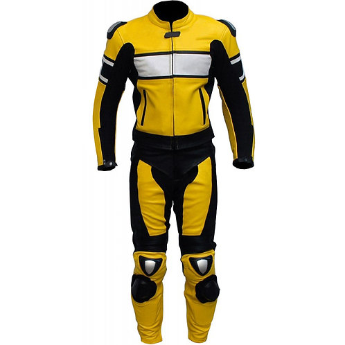 Yellow White Biker Racing Leather Suit
