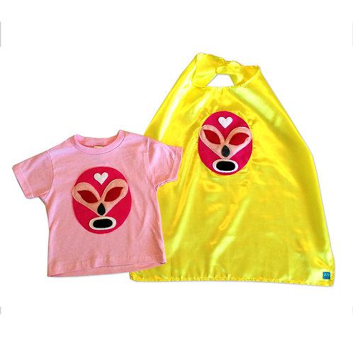 Girl Kid's Shirt- Luchador Rosa - Toddler T-Shirt & Yellow Cape Combo