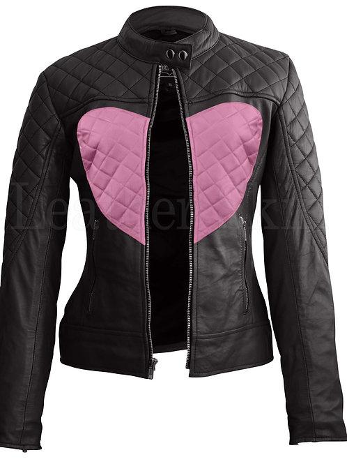 Women Black Pink Heart Leather Jacket
