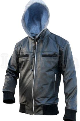 Black Cotton Hoodie Leather Jacket