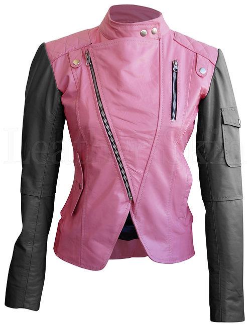 Women Pink Black Sleeve Leather Jacket
