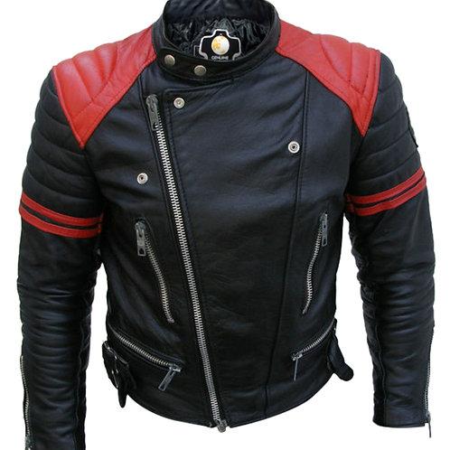 Men Black Red Padded Leather Jacket