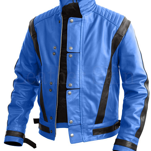 Michael Jackson Men Blue Leather Jacket