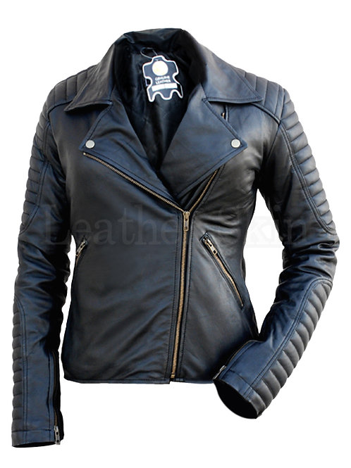 Women Black Padded Leather Jacket