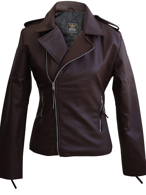 Brown Brando Women Faux Leather Jacket