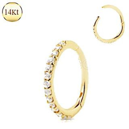 14Kt. Yellow Gold Multi Jeweled Seamless Clicker Ring