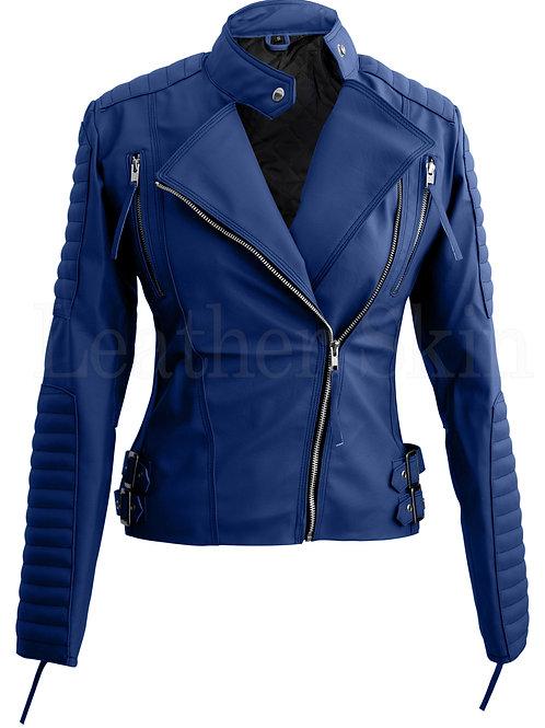 Women Blue Brando Faux Leather Jacket